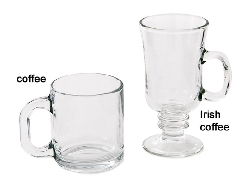 Glass Coffee Mugs Rental Irish Barware Glassware