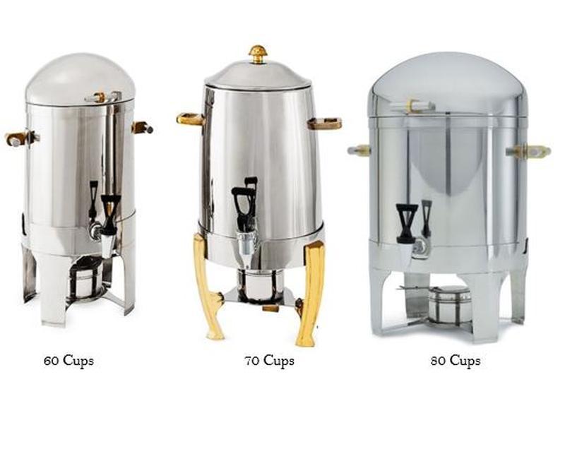 470491e65e9 Stainless Steel Coffee Urns Brass Trim | Rental Wedding Reception ...