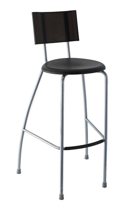 Black Plastic Bar Stool With Back Rental Reception Party