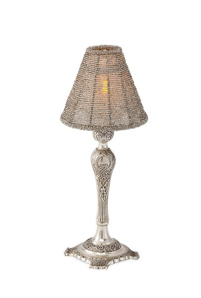 Silver with silver shade led candle lamp