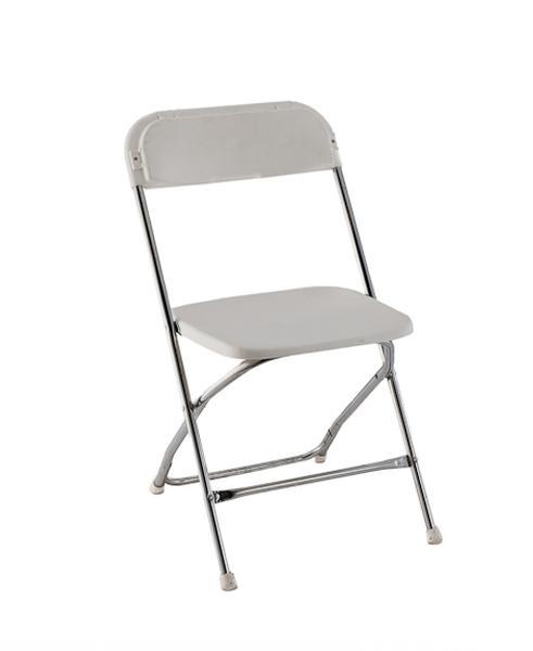 White Plastic Chrome Frame Folding Chair