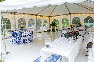 the seating arrangement is also affected by the area covered by the tent.
